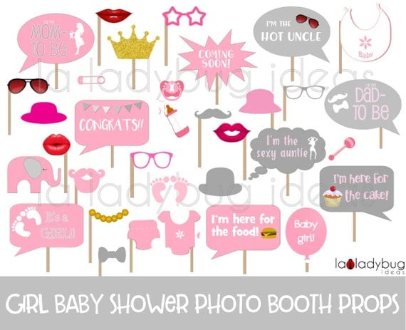 Marvelous Girl Baby Shower Photo Booth Props. Printable. Pink And Gray. DIY Baby  Shower Bubble Speech. Instant Download. PDF File. High Resolution.