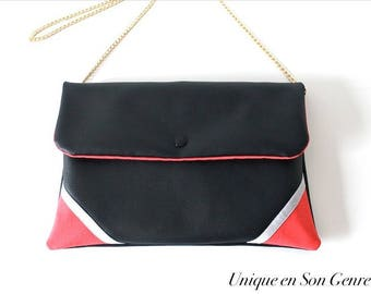 Graphic black leatherette bag one of its kind coral
