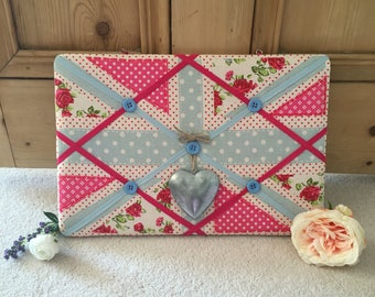 Memo Board with Ditsy, Floral Union Jack Print Fabric and a Heart Embellishment