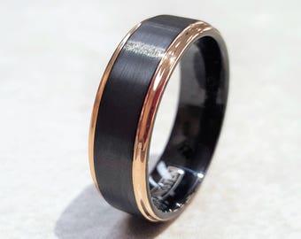 Tungsten Ring, Men's Tungsten Wedding Band, Black Tungsten Ring, Rose Gold Tungsten Ring, Tungsten Band, Personalized Ring