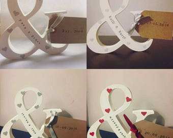 "Freestanding ""&"" sign wedding/engagement or Valentine's gift"