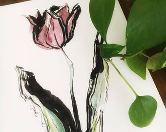 Handmade Tulip botanical ink and watercolor painting