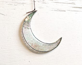 "5.75""  Textured Iridescent Crescent Moon Suncatcher • Stained Glass"