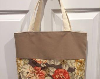 Floral and brown tote bag
