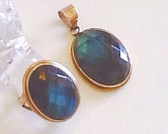 Faceted labradorite silver ring and pendant, beautiful large natural rainbow labradorite