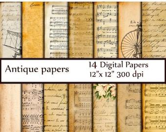 "40%SALE Antique Digital Papers: ""VINTAGE PAPER"" Ephemera Papers Decoupage papers Dictionary Pages Music sheet paper Vintage Handwritten Lett"