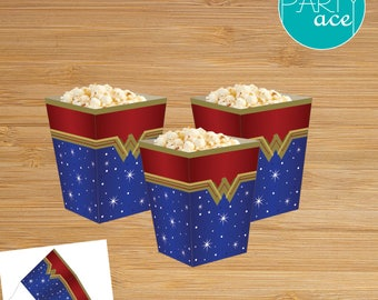 Wonder Woman Printable Popcorn Favor Box Wonder Woman Birthday Party Superhero Birthday Party Decoration