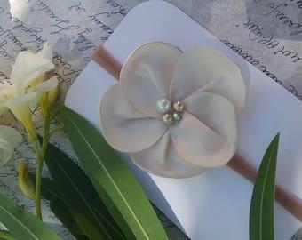 Ivory flower headband, girls magnolia flower headband, baby girl headbands, girls nylon headbands