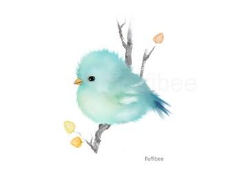 Bird prints, baby bird art, baby bluebird, blue bird, bird painting, baby animals, bird art, bird gift, baby shower gift, nursery art