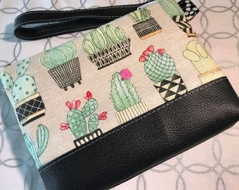 Potted Cactus Clutch with Faux Leather