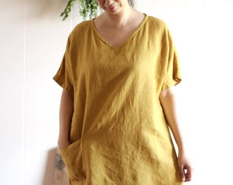 Organic Naturally dyed Ethical Clothing Simple Minimum Tunic Dress Hand dyed Eco friendly Relaxed Linen Pure Natural
