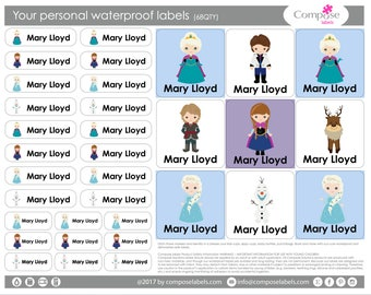 Frozen Ana Elsa - Your personal waterproof labels (68 Qty) Free Shipping