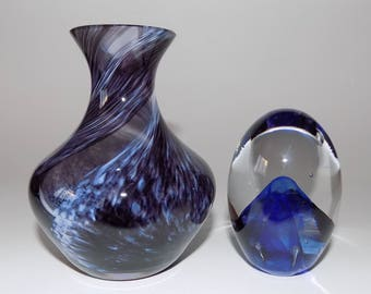 Vintage Caithness Small Purple Vase and Blue Controlled Bubble Paperweight