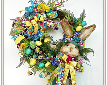 ON SALE Easter Wreath - Easter Decor - Easter Bunny Wreath - Easter Bunny - Bunny Wreath - Easter Gift - Easter Front Door - Spring Wreath -