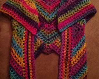 Rainbow Crochet Vest Size S/M - never worn