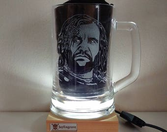 Rory McCann as Sandor Clegane aka The Hound Game Of Thrones Hand Engraved Glass Tankard by JayEngrave