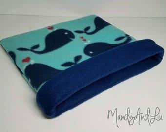 Summertime Whales/Navy - Reversible Fleece Snuggle Bag/Cuddle Sack For Hedgehog / Rat / Guinea Pig / Ferret / Sugar Glider / Small Animal