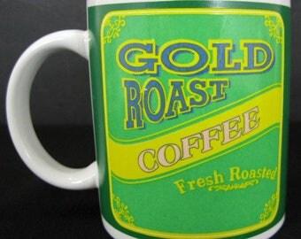 Gold Roast Fresh Roasted Coffee Cup B.I. Mug Green Label