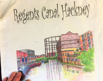 Cotton Tote Bag Regents Canal Hackney by artist Bernie Wighton