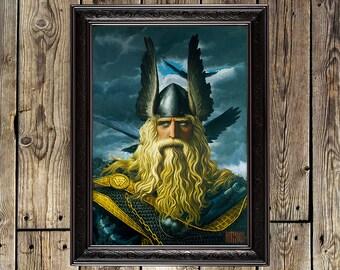 Wotan, Odin, Odin reproduction, Odin decoration, Viking art, Viking poster, Viking print, Viking decor, Valhalla, northern painting, 390