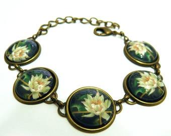 Bracelet, Waterlilies, Lotus, lilies, oil painting