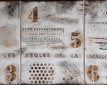 "Triptych Panel modern/industrial/contemporary ""House rules"" to order only"