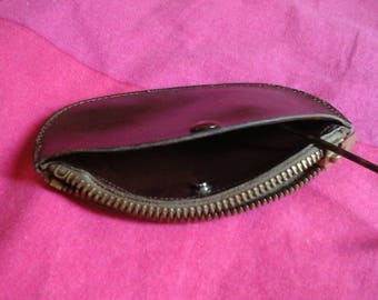 Vintage wallet leather zip 1970 made in France