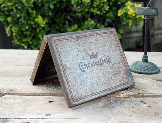 Chesterfield Cigarette Tin-Vintage Cigarette Tin-Antique Cigarette Tin-Advertising Cigarette Tin-Memorabilia-Americana Tin-1940s Tin