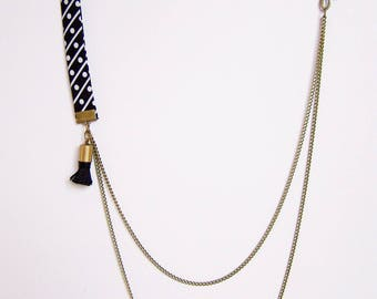 Liberty double long chain necklace black and white and black tassel