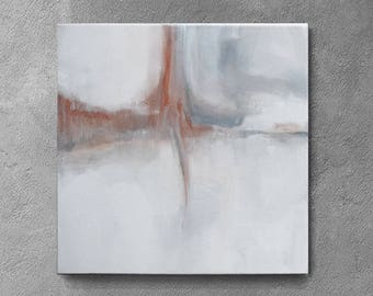 Art, small abstract, white art  painting, 12x12 , Original textured , orange and gray , Abstract Artwork, neutral art , minimalist abstract