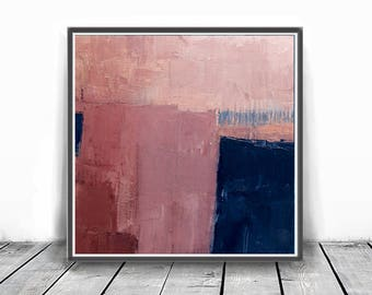 Abstract printable art, Navy blue brush strokes and light pink, Modern art prints, Abstract paintings, coral , larger abstract art, peach