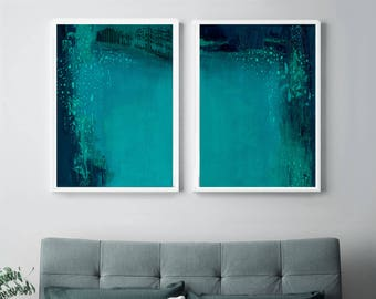 Set of 2 Prints, Abstract Art, Printable Print Set, Two Prints, Blue Wall Art, Blue and Turquoise, Living Room Art, Bedroom Art,