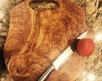 Personalized live edge Cutting board- olive wood- gifts- Christmas -kitchenware-serving-customize-