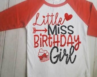 Girls Birthday Shirt, Personalized Birthday Shirt, Girls Raglan Birthday Shirt, Birthday Girl Shirt, Girls Shirt, Birthday Party Shirt