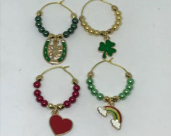 Ready to ship, set of 4 St. Patt's Day themed wine glass charms