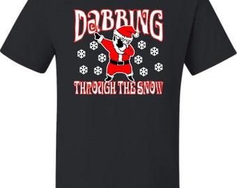 Adult Dabbing Through The Snow Funny T-Shirt