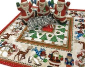 Custom Square Topper with Santas, Nutcrackers, Snowmen and Reindeer, Dan Morris for Quilting Treasures fabrics, Square Quilted Table Quilt