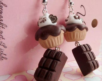 Chocolate Candy Bars and Cupcakes Earrings
