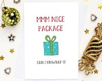 Sexy Boyfriend Christmas card, Husband Christmas card, Naughty card, funny Christmas card, cheeky Christmas card, card for him, gay card