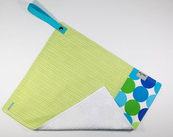 Napkin - towel canteen / bib for children - 2 in 1 - honeycomb - polka dots and stripes cotton fabric green & blue