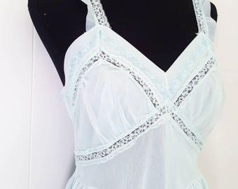Birkshire Light Blue Nightgown with Lace Trim