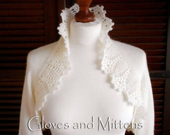 Ivory Wedding Bolero Ivory Shrug Ivory Crochet Knitted Capelet Bridal Cape Ivory Wedding Wrap Bridal Shawl Bridal Cover Up Bridesmaid Shawl