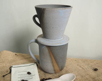 Handmade Ceramic Coffee Drip Cone and Cup Set, Ceramic Pour Over Cone, Blue Gray Coffee Pour Over Cone