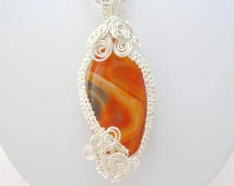 Carnelian Necklace, Carnelian Pendant, Carnelian Jewelry, Gemstone Necklace, Gemstone pendant, Wire Wrapped Jewelry, Chakra Jewelry