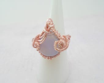 Blue Lace Agate Wire wrapped Ring, Rose Gold Blue Lace Agate Ring, Blue Lace Agate Jewelry, Purple Gemstone Ring, Blue lace agate wire ring
