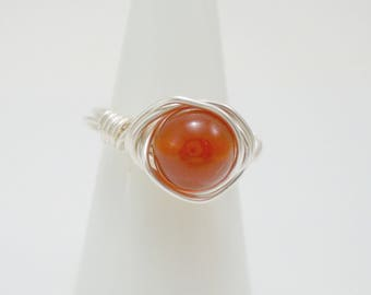 Carnelian Wire Ring, Carnelian Ring, Wire wrapped Ring, Carnelian Jewelry, Gemstone Ring, Stacking Silver rings, Chakra Jewelry, Boho Ring