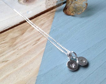 Silver initial necklace | Organic initial pendant in recycled and sterling silver | Personalised jewelry | Ethical jewellery | Eco packaging