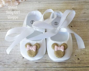Pink and Gold Minnie Mouse Tutu, Minnie Mouse Pink and Gold Birthday Outfit, Pink and Gold Minnie Mouse Birthday Outfit, Minnie Mouse Shoes