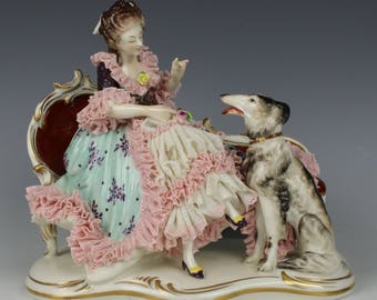 "Dresden Volkstedt figurine ""Sitting Lady with Borzoi"""