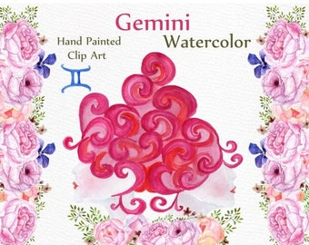 "ON SALE 30% Gemini zodiac sign clipart: ""PEONIES Flower Clipart"" Watercolor flowers Astrology clipart Floral banner clipart Horoscope Zodiac"